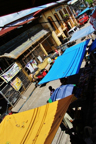 stalls at the town center during market day