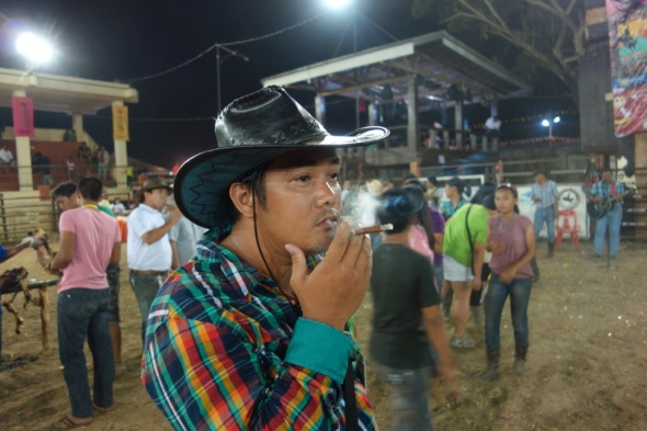the traditional cowboy cigar, lit to mark the rodeo's success