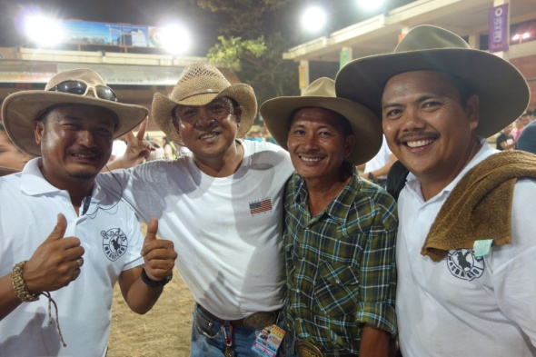 (Volunteer Rodeo Officials of Masbate) in a celebratory mood