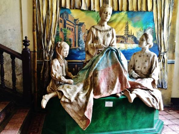 the diorama depicting the sewing of the Filipino flag at the 1700s Marcela Agoncillo house