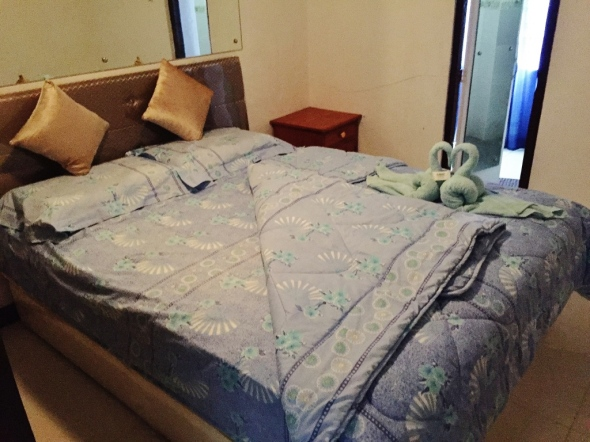 the mosy expensive room of the hotel has a good orthopedic bed and high quality beddings. P2,500.